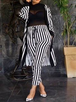 Stripe Coat And Pants Women's Two Piece Sets