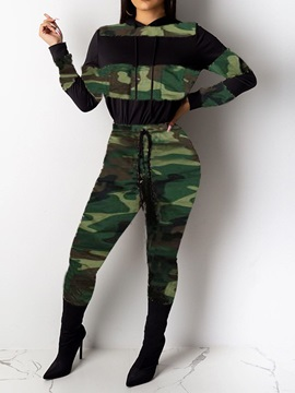 Camouflage Casual Slim Women's Two Piece Sets