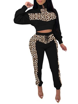 Casual Leopard Color Block Stand Collar Women's Two Piece Sets