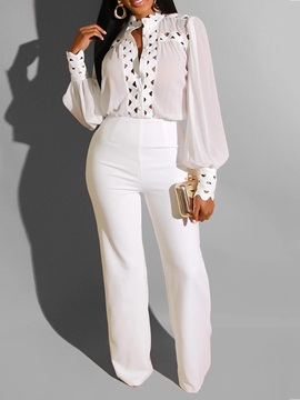 Fashion Plain Stand Collar Straight Women's Two Piece Sets