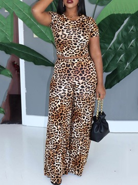 Leopard Pullover Loose Women's Two Piece Sets