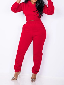 Hoodie Casual Plain Pencil Pants Pullover Women's Two Piece Sets