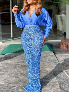 V-Neck Long Sleeve Floor-Length Fashion Bodycon Women's Two Piece Sets