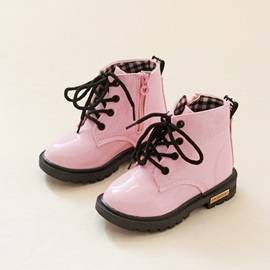 Chic PU Side-Zipper Lace-Up Kid's Booties