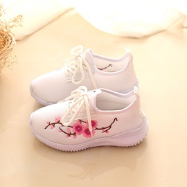 Round Toe Floral Embroidery Kids' Sneakers