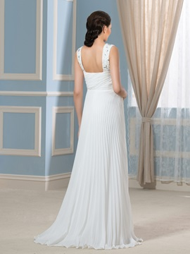 Beading Straps Pleated Floor-Length Maternity Wedding Dress
