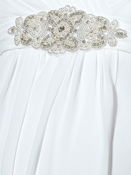 Cap Sleeve Beading Empire Waist Maternity Wedding Dress