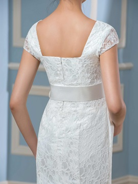 Empire Waist Cap Sleeves Lace Maternity Wedding Dress