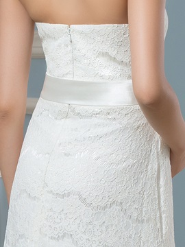 Strapless Lace Ribbon Maternity Wedding Dress
