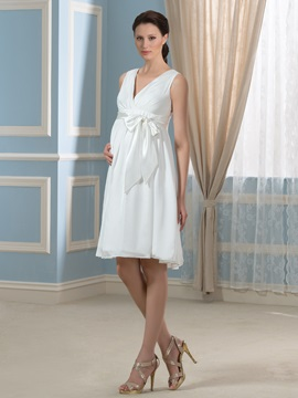 A line Sleeveless Empire Maternity Wedding Dress