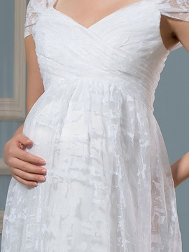 A-Line Straps Lace Floor-length Pregnant Maternity Wedding Dress