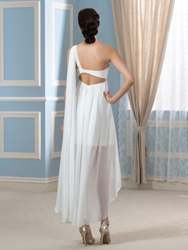 Asymmetry One-Shoulder Beading Short Beach Pregnant Wedding Dress