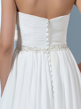 Strapless A-Line Beading Pleats Pregnancy Maternity Wedding Dress