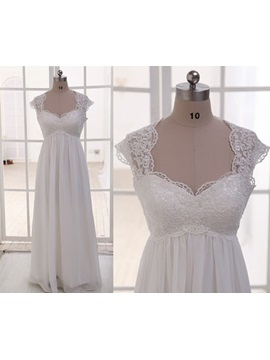 Lace Top Empire Waist Ivory Maternity Wedding Dress