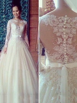 Bateau Neck Long Sleeve Appliques Pearls Wedding Dress