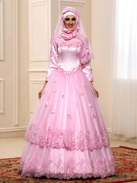 Floral Appliques High Neck Long Sleeve Arabic Wedding Dress