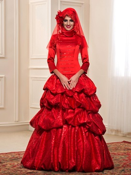 High Neck Sequined Long Sleeve Tiered Puffball Pick-ups Red Muslim Wedding Dress