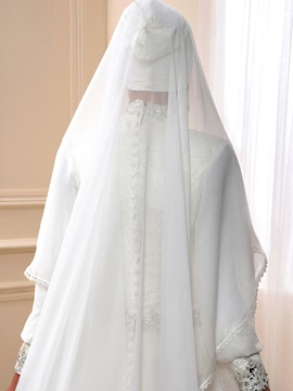 Sequin Lace High Neck Muslim Wedding Dress