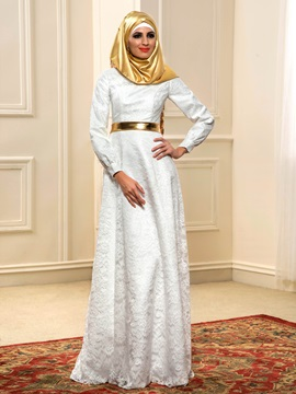 White Lace Long Sleeve Outdoor Muslim Wedding Dress