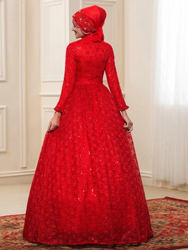 High Neck Sequins Lace Red Muslim Wedding Dress