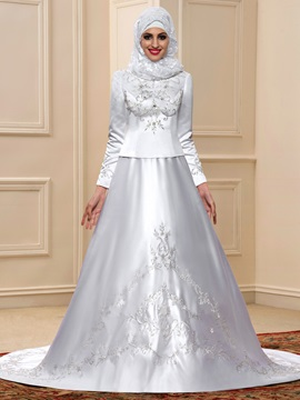 Beaded Embroidered High Neck Long Sleeve White Satin Arabic Wedding Dress