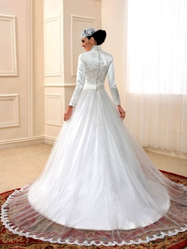 Beaded Appliques Long Sleeves Muslim Wedding Dress
