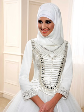 Sequin Beaded Long Sleeve Ball Gown Muslim Wedding Dress
