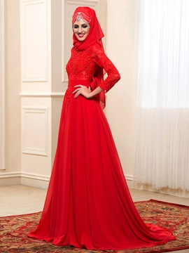 Modest Buttons Zip-up Red Long Muslim Wedding Dress with Hijab