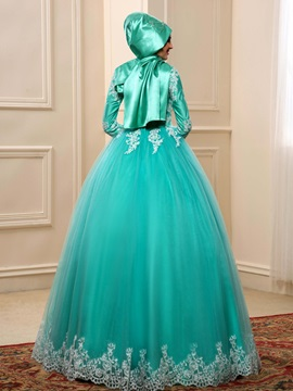 Modest High Neck Lace Appliques Ball Gown Indian Wedding Dress with Sleeves