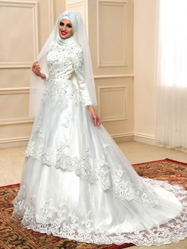 Arabic High Neck Long Sleeve Muslim Wedding Dress A-Line Zipper