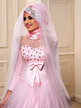 Modest Beaded Bowknot Muslim Wedding Dress