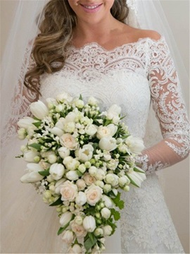 Off the Shoulder Appliques Lace Long Sleeves A-Line Wedding Dress