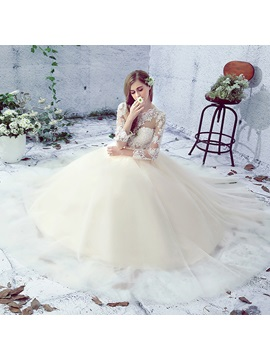 Illusion Lace Long Sleeves Open Back Ball Gown Wedding Dress