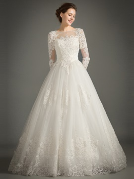 Beaded Bateau Neck Appliques Long Sleeve Wedding Dress