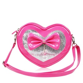 PU Heart Shaped Bow Girl's Mini Crossbody Bag