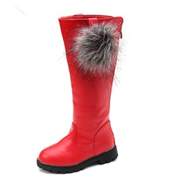 Chic Plush Ball Zip-Behind Girl's Knee High Boots