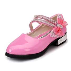 Glossy Beaded Bowknot Girl's Flats