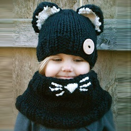 Cute Cat Knitted Hat & Scarf for Kid