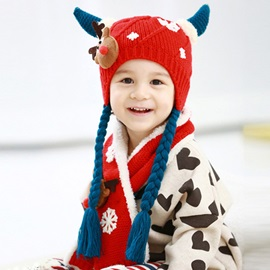 Winter Snowflake Embellished Warm Kid's Hat & Scarf
