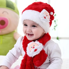 Santa Claus Decorated Warm Kid's Hat & Scarf