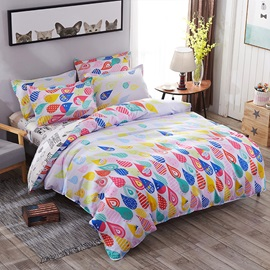 Wannaus Multicolor Water Drops Prints Polyester 4-Piece Bedding Sets/Duvet Covers