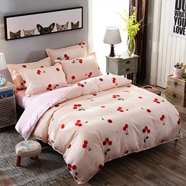 Wannaus Pink Plaid and Cherry Prints Polyester 4-Piece Bedding Sets/Duvet Covers