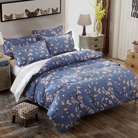 Wannaus Pink Flowers Prints Pastoral Style Polyester 4-Piece Blue Bedding Sets/Duvet Covers