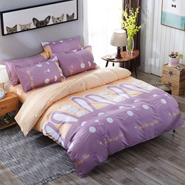 Wannaus Purple Rabbits Prints Polyester 4-Piece Girls Bedding Sets/Duvet Cover