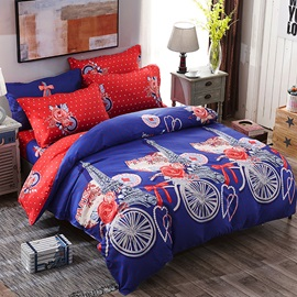 Wannaus Dark Blue Eiffel Tower and Floral Prints Polyester Polka Dot 4-Piece Bedding Sets