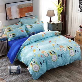Wannaus Blue Dream Catcher and Leaves Prints Polyester 4-Piece Bedding Sets/Duvet Covers