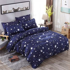 Wannaus Dark Blue Starry Galaxy Prints Polyester 4-Piece Bedding Sets/Duvet Cover