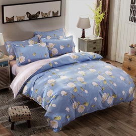 Wannaus White Mangnolia Printed Polyester 4-Piece Light Blue Bedding Sets/Duvet Covers