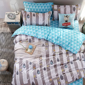 Wannaus Grey Tree Trunks Prints Polyester 4-Piece Bedding Sets/Duvet Covers