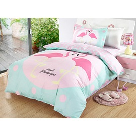 Wannaus Bright Flamingo Couple Pattern 3 Pieces 100% Cotton Duvet Cover Sets